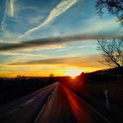 Sun Driving Sunset Sungoesdown Athome  Landstrasse Landscape Landschaft Sky Clouds
