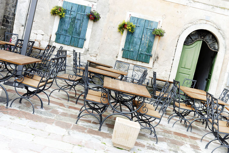 Architecture Bar Blue Built Structure Chairs Coffee Day Drink Dubrovnik, Croatia Eat Empty Exterior Lunch No People Outdoors Pots Of Flowers Rustic Shutters Sidewalk Cafe Street Terrace Summer Tables Town Urban Windows