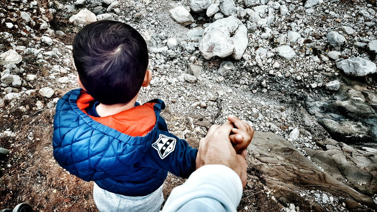 Father & Son Holding Hands View From Above From My Point Of View Riverside Cliffside Hold My Hand Hold On Tight Let's Go For A Walk Human Hand Little Boy Father Human Settlement Forestwalk