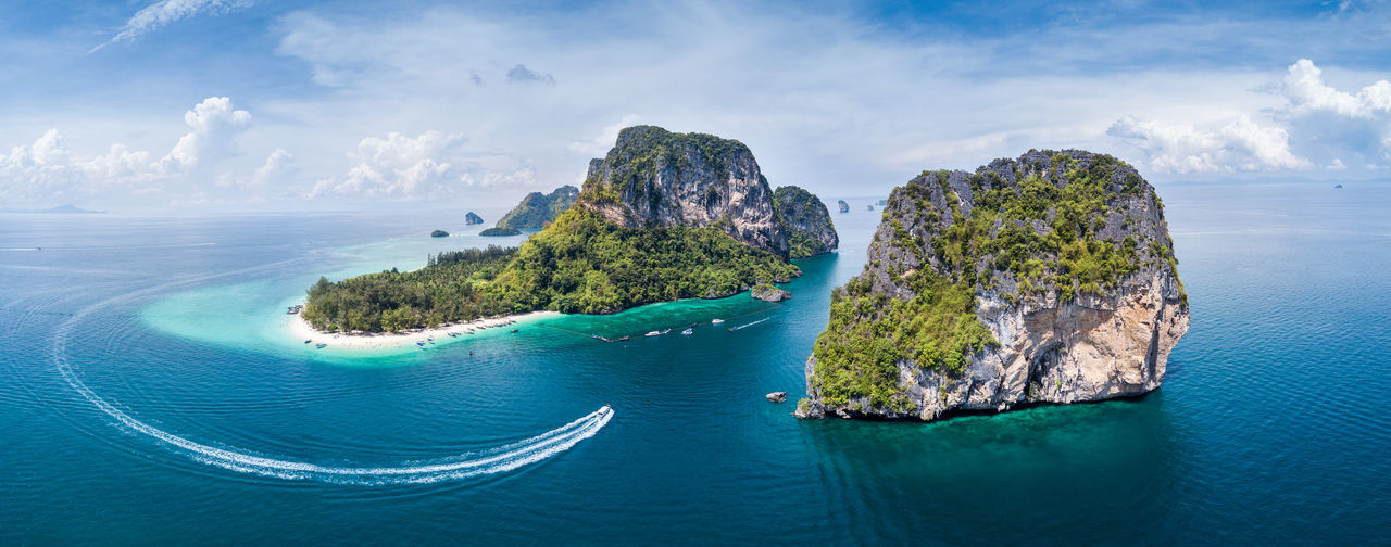Beauty In Nature Blue Cloud - Sky Day Drone  Dronephotography Horizon Over Water Island Ko Poda Krabi Mountain Nature Nautical Vessel No People Outdoors Physical Geography Rock - Object Scenics Sea Sky Thailand Tranquil Scene Tranquility Turquoise Colored Water Neighborhood Map The Great Outdoors - 2017 EyeEm Awards The Great Outdoors - 2017 EyeEm Awards