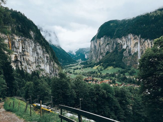 Tree Mountain Built Structure Architecture Scenics Sky Cloud - Sky Travel Destinations Railing Rock Formation Tranquil Scene Bridge - Man Made Structure Beauty In Nature Tourism Growth Tranquility Outdoors Cliff Day Nature Switzerland Lauterbrunnen Wengen