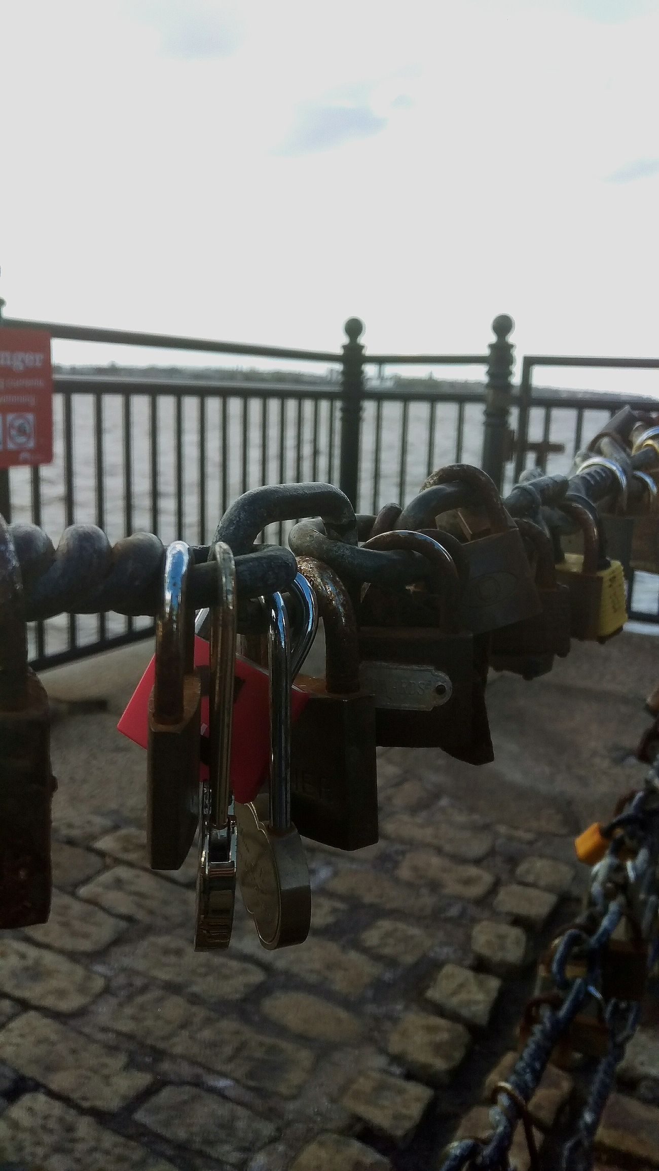 Protection Safety Padlock Water Love Lock Railing Lock Metal River Outdoors Hanging Sky Close-up City Day Bridge - Man Made Structure No People