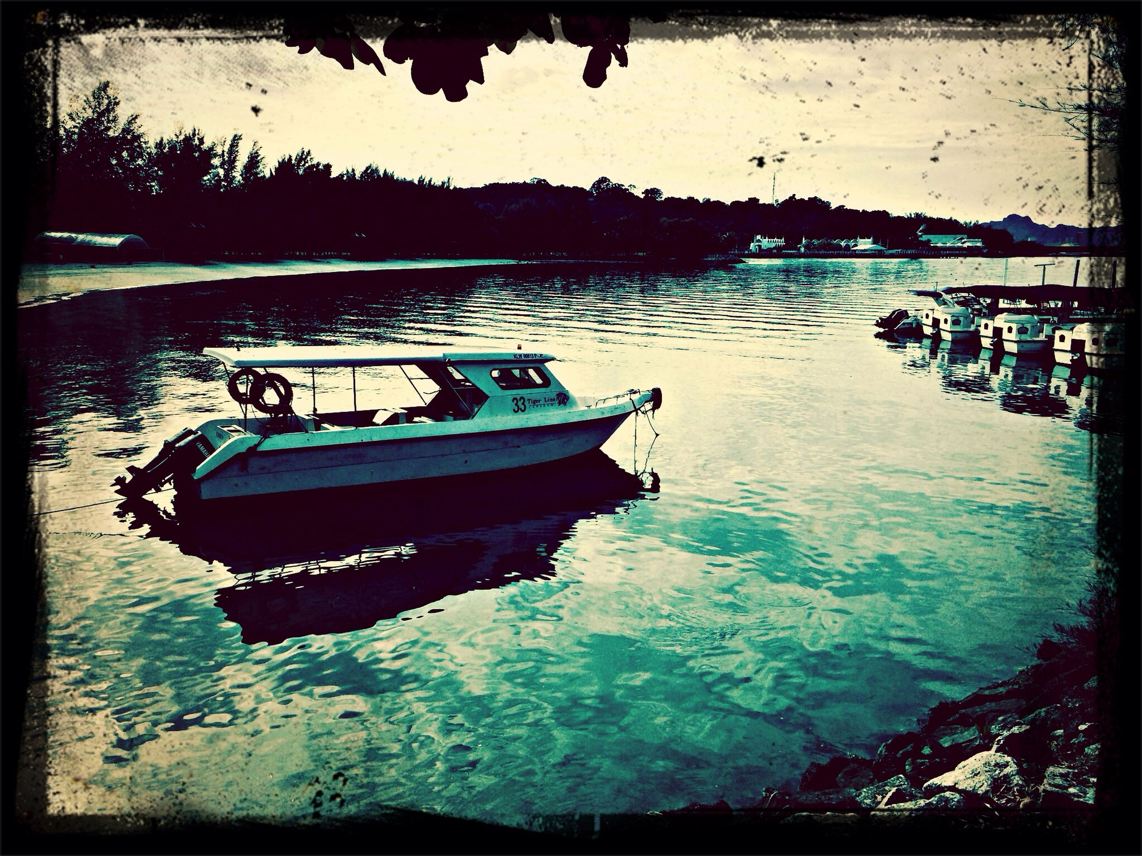transfer print, water, auto post production filter, nautical vessel, transportation, mode of transport, boat, moored, reflection, waterfront, lake, sky, river, travel, nature, outdoors, tranquility, sea, rippled