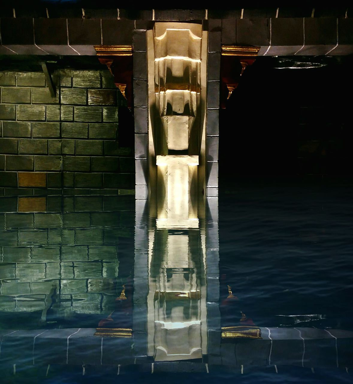 water, built structure, architecture, illuminated, no people, statue, sculpture, indoors, architectural column, day, close-up