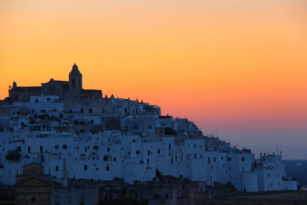 Ostuni Puglia Italy Magical Moment Evening Sky Orange Sky White Village