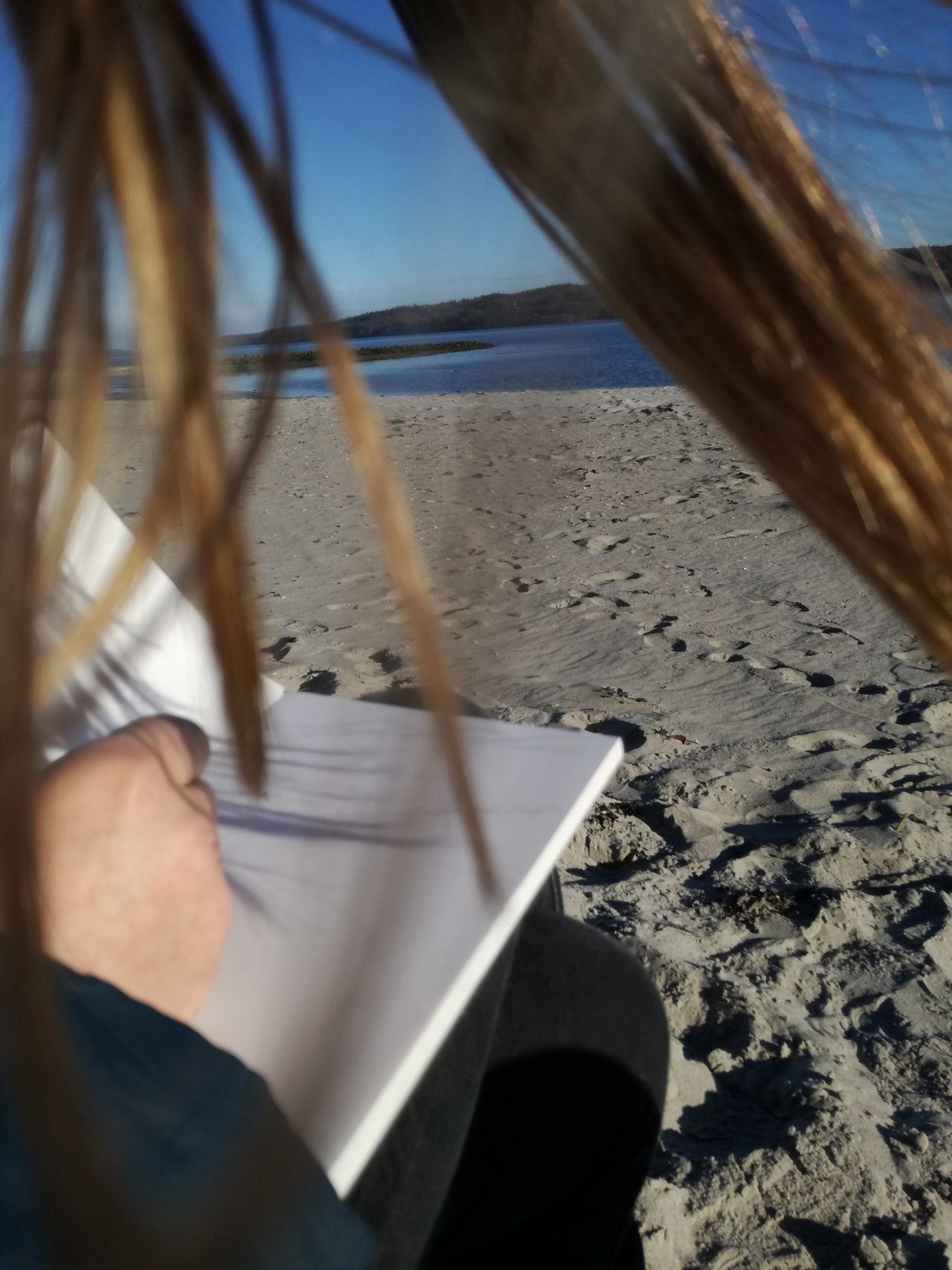 One Person Leisure Activity Outdoors Sky Day Close-up Sketching VejleFjord Denmark Young Adult Sand