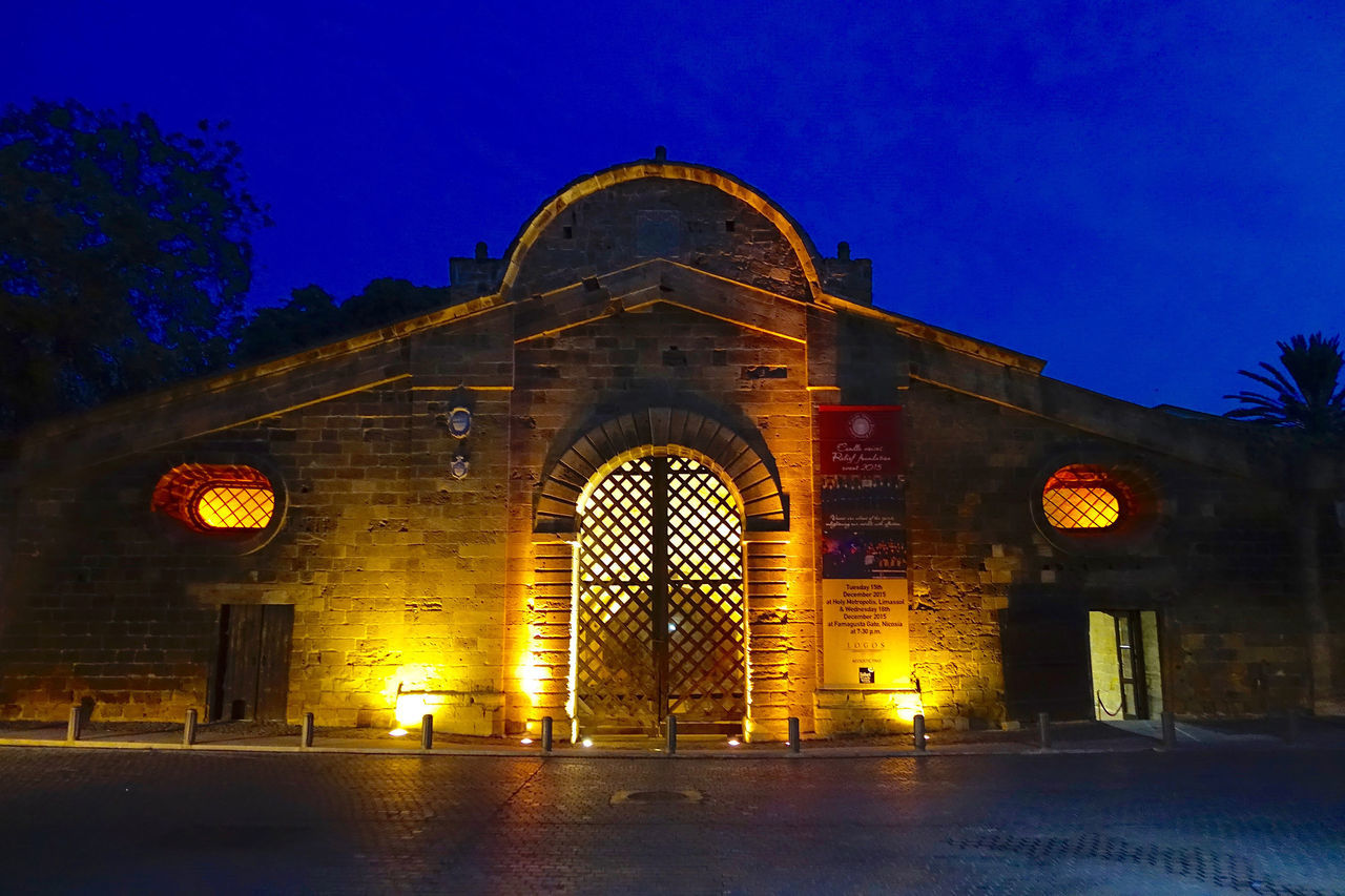 The Famagusta Gate in the ancient city wall in Nicosia, Cyprus. Ancient Arch Architecture At The Blue Hour Blue Built Structure City Wall Cyprus Façade Famagusta Gate Illuminated Nicosia No People Outdoors Sky Tourism Travel Destinations