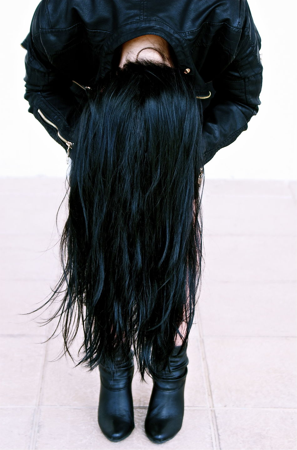 Aesthetics Art, Drawing, Creativity Black Color Boots Day Focus On Foreground Hair Style Jacket Kvission Let Your Hair Down Lifestyles Long Hair Mónica Nogueira. No Face Outdoors Rock & Roll Still Life To Pose Vertical Woman Portrait Woman Power Zip Fashion