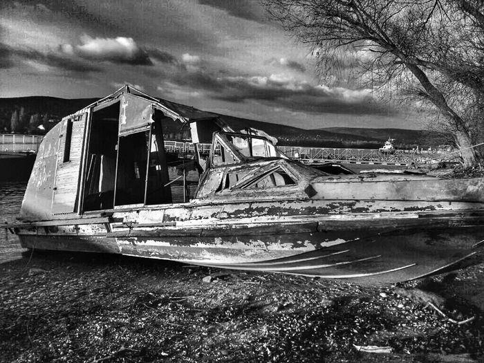 Ship Riverside Port Dock Monochrome Black & White Wreck