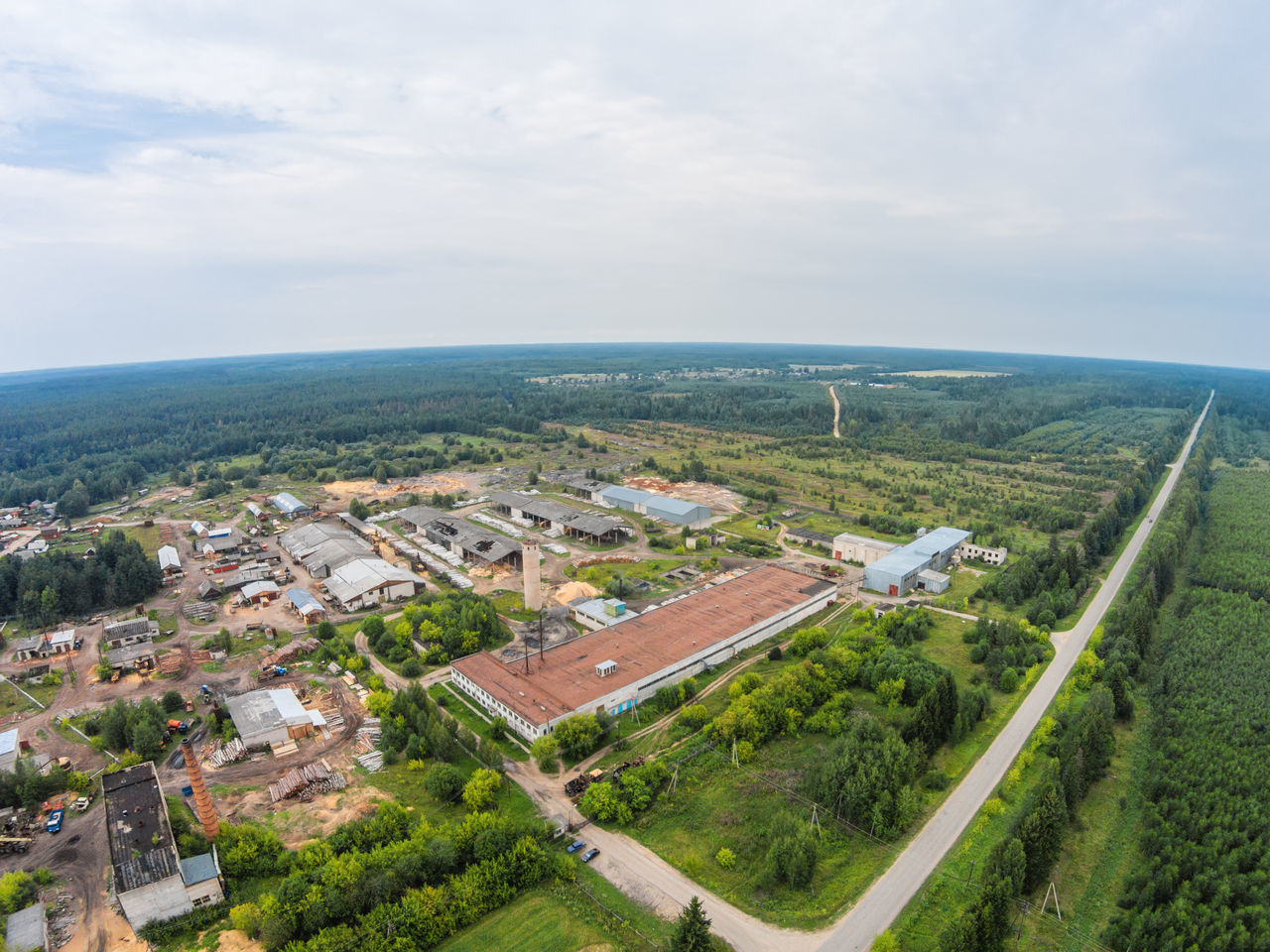 Aerial view of the industrial zone of the village Fabrika A Bird's Eye View Aerial Aerial View City Cityscape Day Drone  Dronephotography High Angle View Industrial Nature No People Outdoors Russia Sky Top Perspective Tree Village