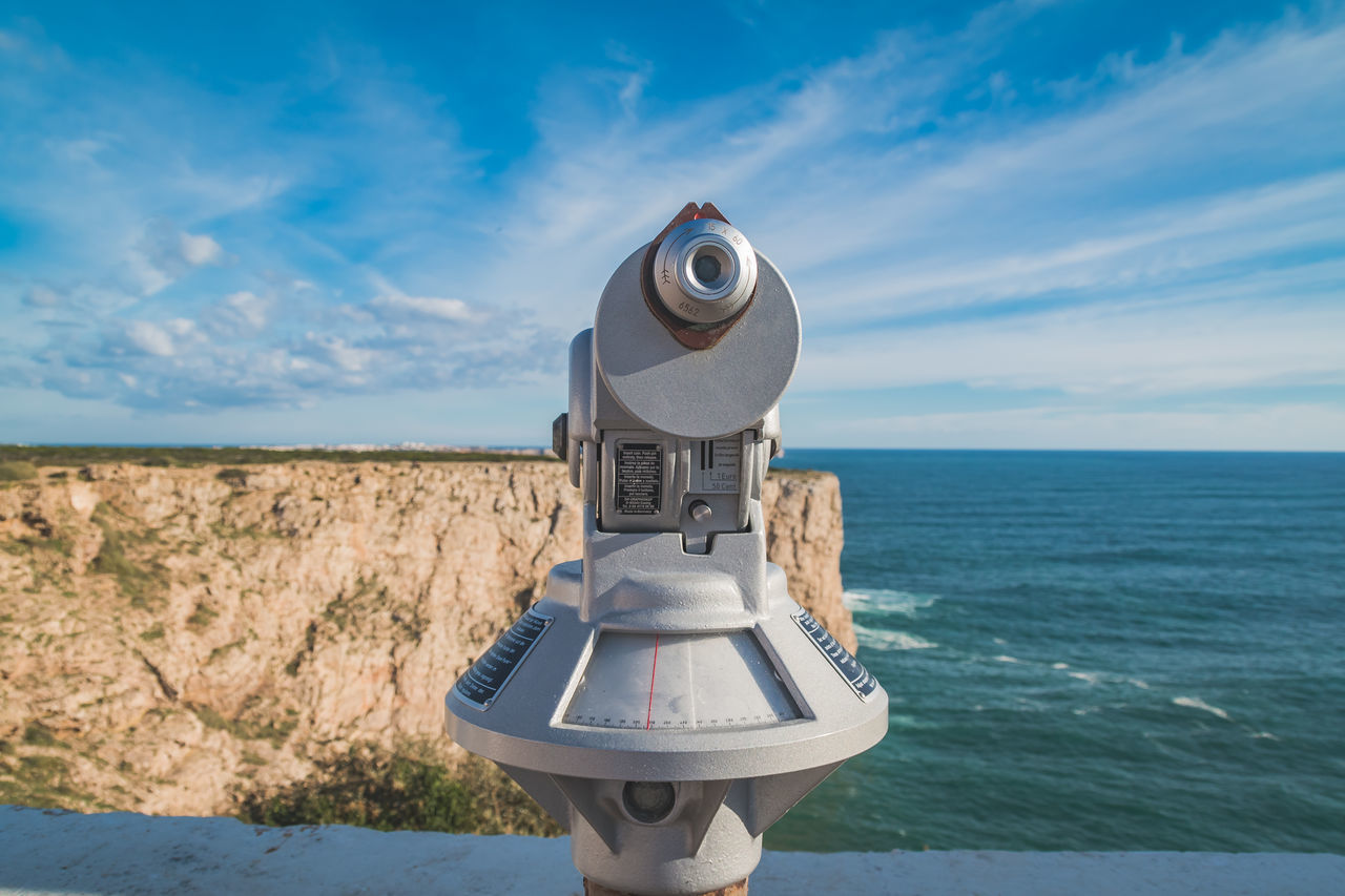 Beach Blue Camera - Photographic Equipment Cloud - Sky Coin-operated Binoculars Day Device Landscape Nature No People Photography Themes Portugal Scenic Scenics Sea Sky Telescope View Viewpoint