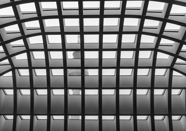 Architecture Architecture Architecture_collection Architecturelovers Backgrounds Built Structure Ceiling Dach Day Fernsehturm Full Frame Indoors  Low Angle View Monochromatic Monochrome Photography No People Pattern Pattern, Texture, Shape And Form Patterns Roof Sky Symmetry TV Tower
