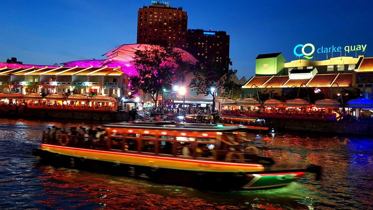 Boat Riverside Night