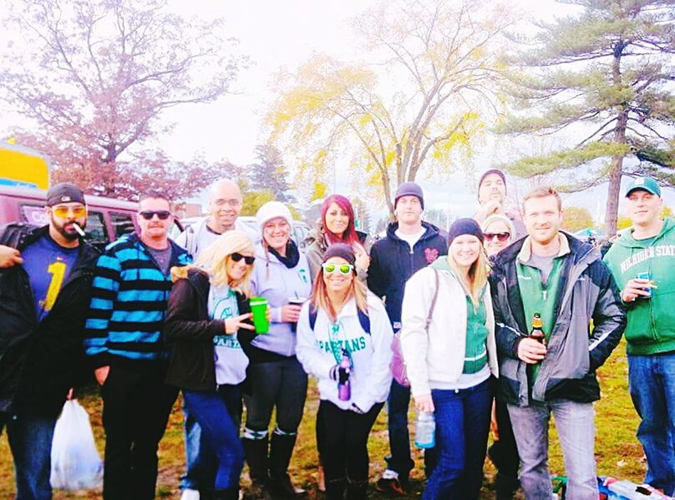 Always Be Cozy Tailgating MSUvsUM Happiness Friendship Togetherness Adults Only Day Crowd Community People Large Group Of People Outdoors Full Length Footballgame MSU Football Msu Campus Eastlansing Cedarriver Layeredup Fall Colors Fall