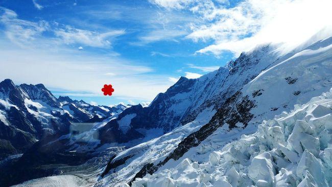 Anbernika Stickers Jungfraujoch Switzerland Alps Mountains And Sky Snow Peaks Stickers