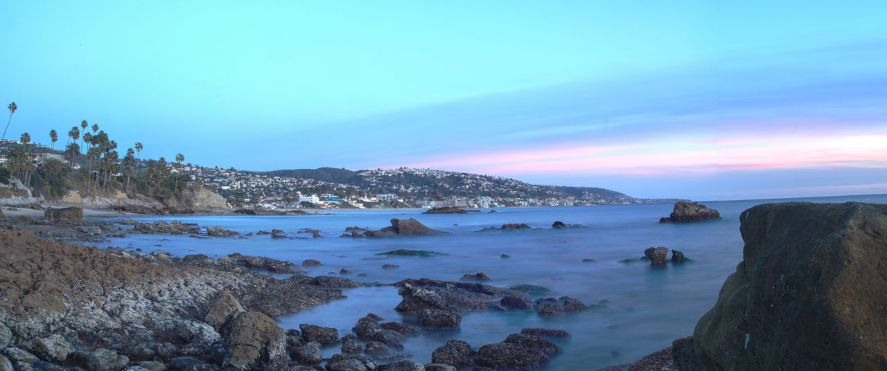 Sunset over Diver's Cove in Laguna Beach, California, United States Beach Beauty In Nature Coastal Coastline Coastline Landscape Divers Cove Horizontal Laguna Beach, CA Nature No People Ocean Outdoors Panorama Panoramic Rocks Scenics Sea Sky Sunset Sunset And Clouds