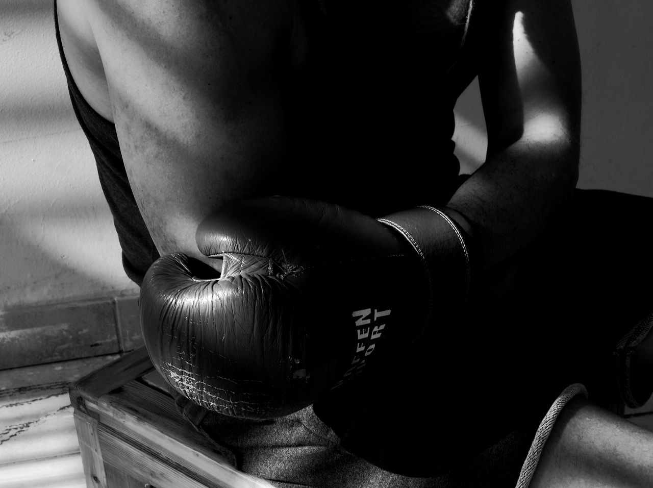 Adult Adults Only Black And White Box Sport Boxing Boxing Gloves Close-up Day Exercise For The Day... High Contrast High Contrast Bnw Human Body Part Human Hand Indoors  Leisure Activity Lifestyles Light And Shadow Low Key Low Key Photography One Person People Real People Sports Training