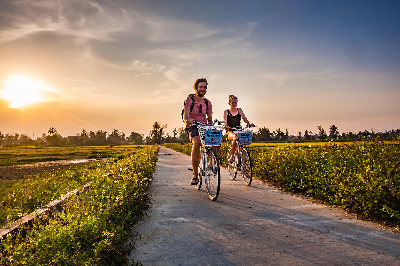 Wandering Bicycle Cycling People Sunset Road Riding Two People Young Men Young Women Day Sunlight Sun Field Hoi An Hoi An, Vietnam