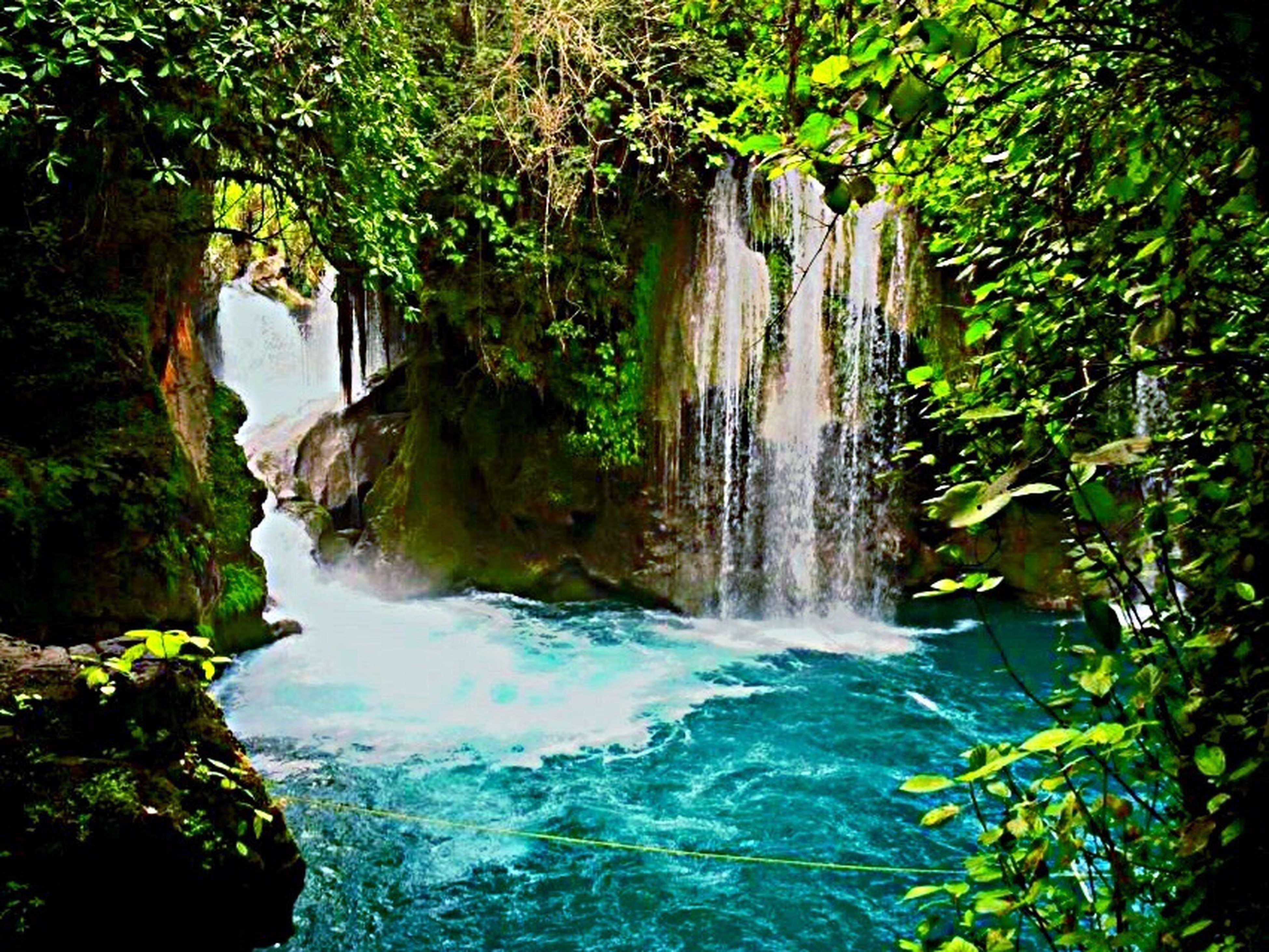 water, nature, waterfall, scenics, refraction, landscape, tree, rock - object, beauty in nature, travel destinations, forest, outdoors, no people, vacations, day