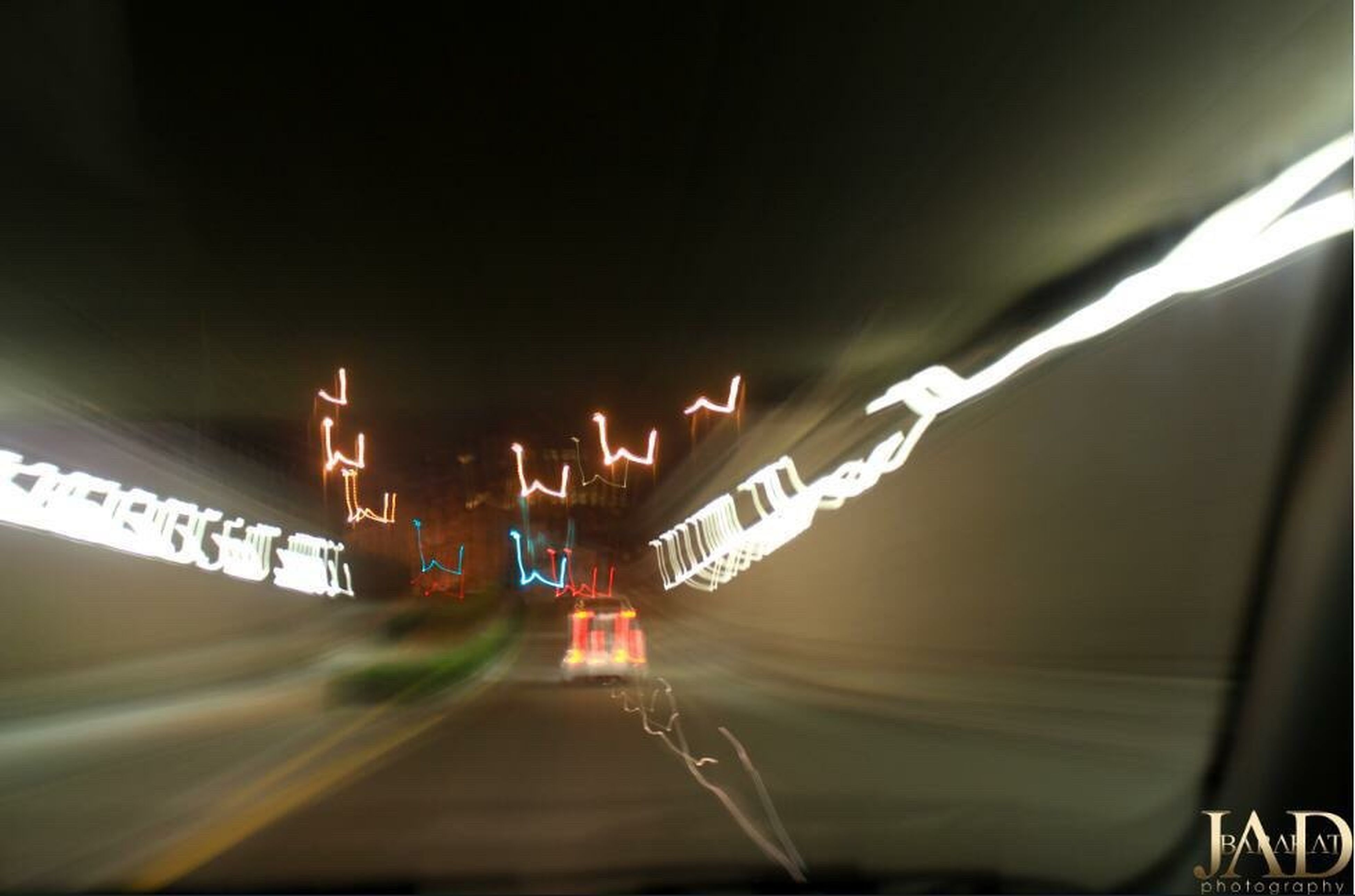illuminated, transportation, motion, night, tunnel, speed, no people, outdoors, close-up