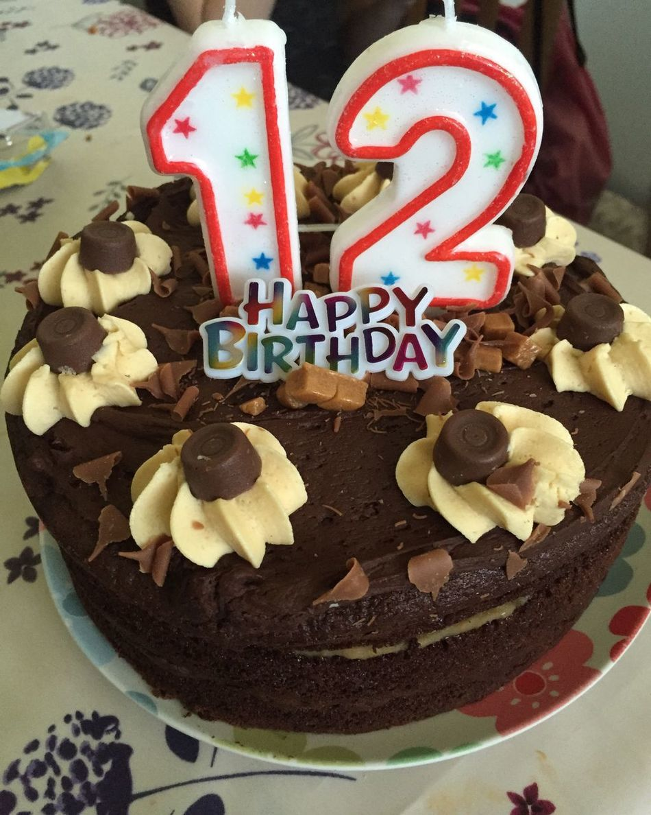Birthday Cake Happy Birthday 12th Birthday Cake Celebration Cake Chocolate Cake <3 12th Food Treat Yummy
