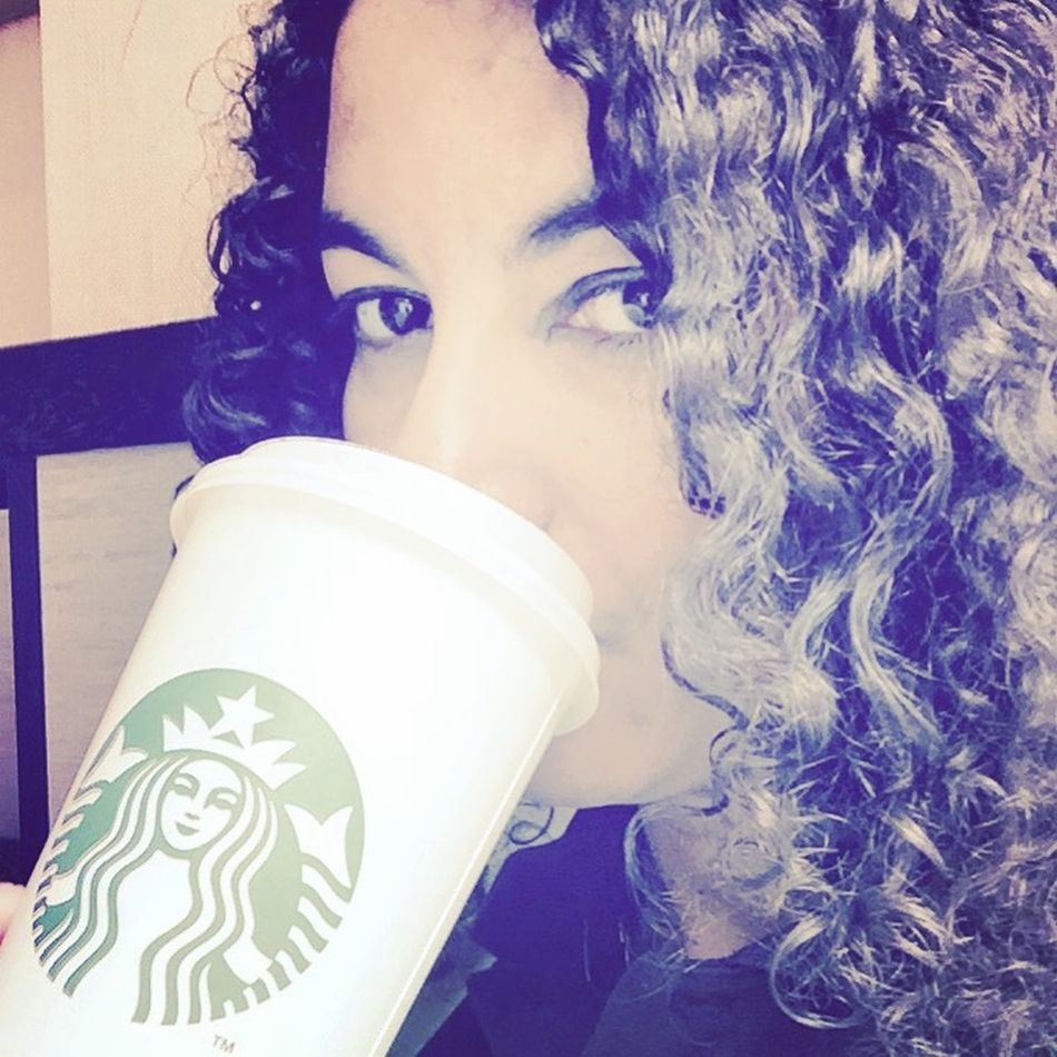 Coffee addicted.. That's Me Cafe Latte Starbucks Woman Portrait Of A Woman Drinking Coffee Time Eye4photography  Love Cafe