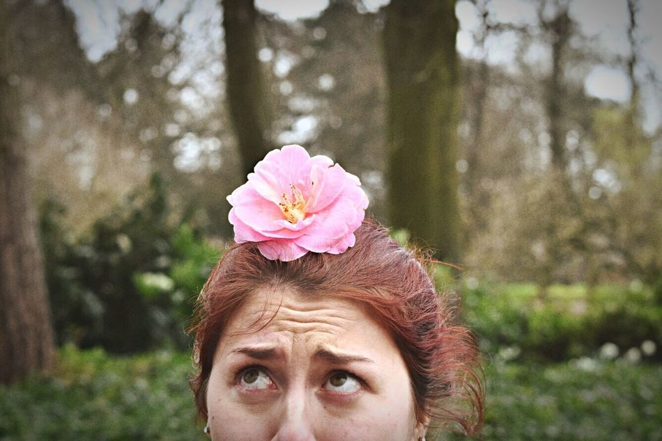 Portrait Headshot Nature Outdoors Beauty People Beauty In Nature Flower Close-up Pink Color Spring Springtime Park