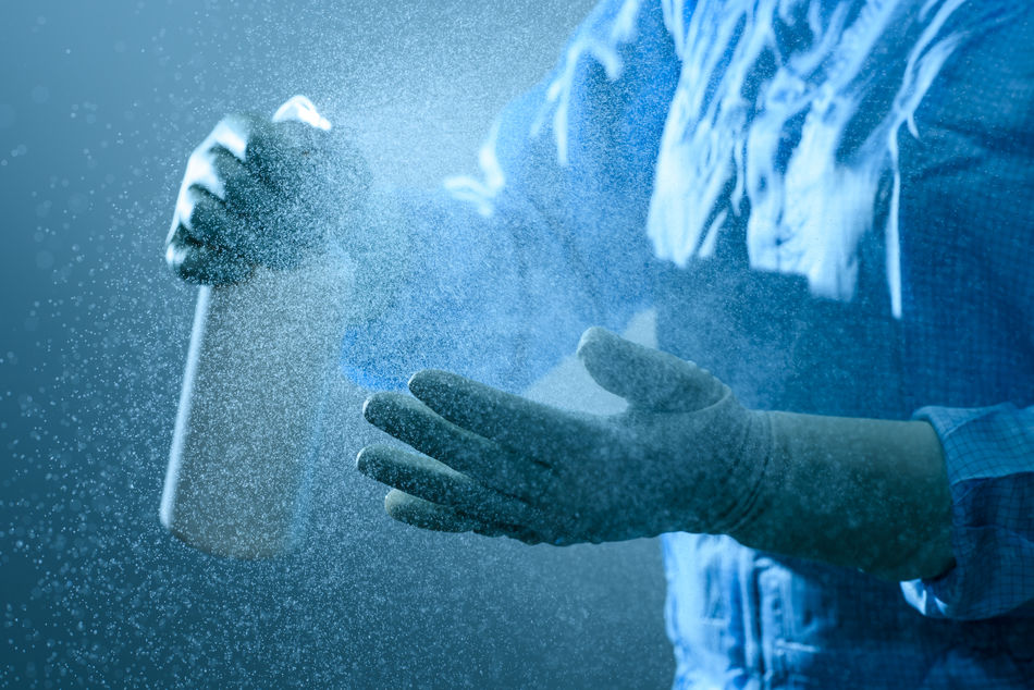 Spraying antibacterial on hands Antibacterial Bacteria Bacterialcontamination Gloves Good Hygiene Hygiene Infected Infection Medical Pharmacy Spray Virus Washing Hands