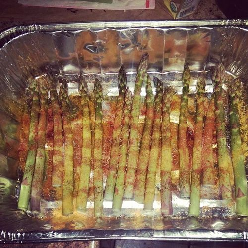 Welshfamilyorganics Asparagus ready to hit the oven with all the goodies on it