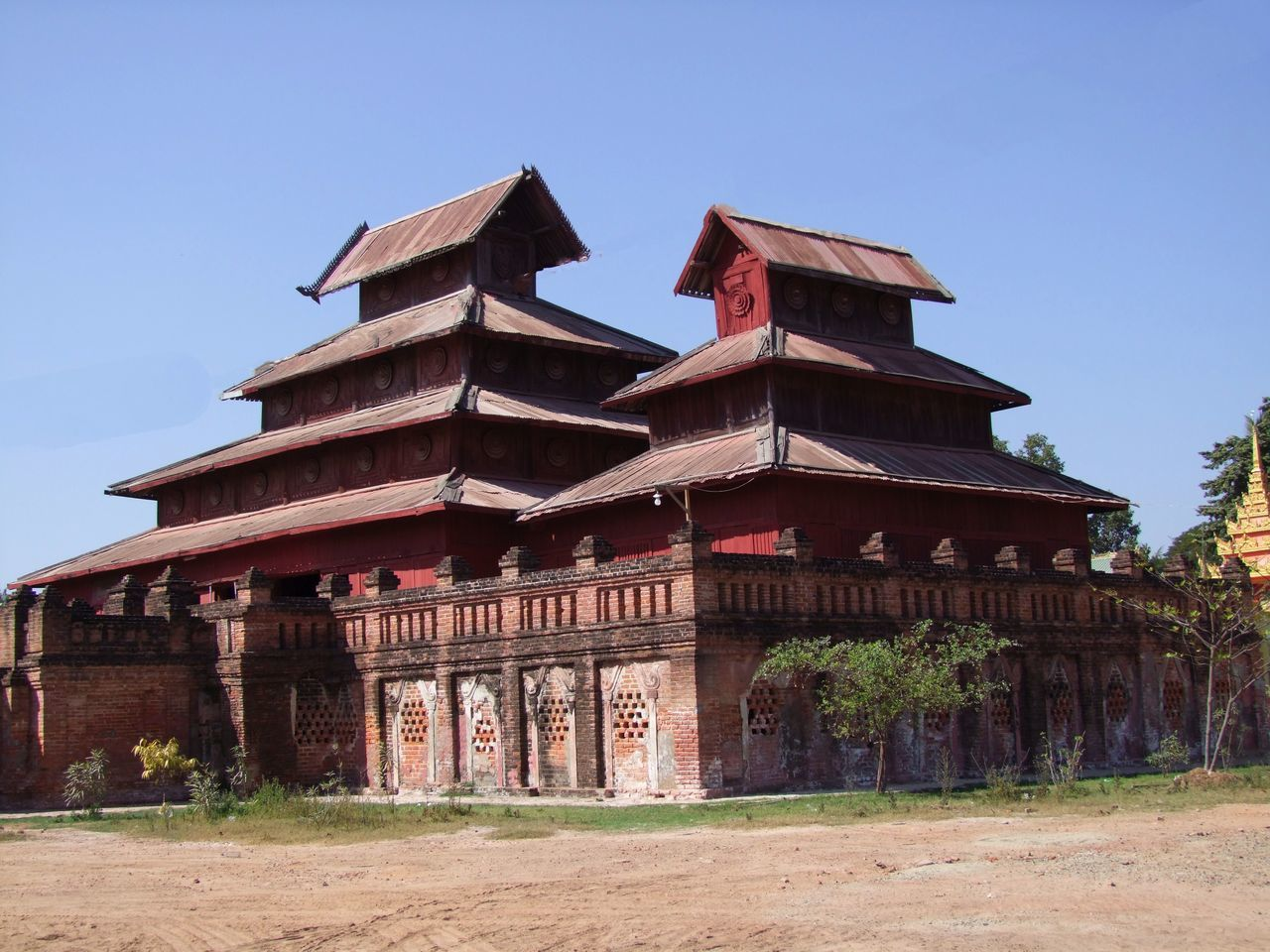 Old Wooden Monastery Blue Sky Buddhism Buddhist Architecture Buddhist Culture Buddhist Monastery Buddhist School Building Exterior Built Structure Composition History Monastery Myanmar No People Old Building  Outdoor Photography Red Colour Religion Salay Sunlight And Shade Teak Building Teak Wood Tourism Tourist Attraction  Travel Destination Wooden Building