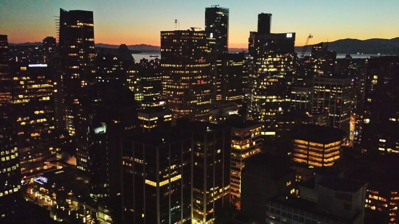Vancouver skyline at sunset. Sunset Silhouettes Sunset Sunset_collection Cityscape Sky Dusk City Urban Skyline Illuminated Building Exterior Architecture Business Finance And Industry Outdoors Downtown District Travel Destinations Modern Vancouver BC Downtown Top View Vancouver Island Canada Night Lights City Life People Sunset_madness