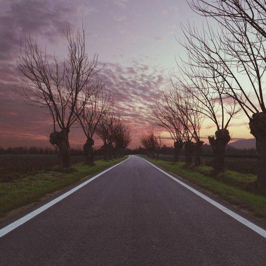 Landscape Sunset On The Road Road