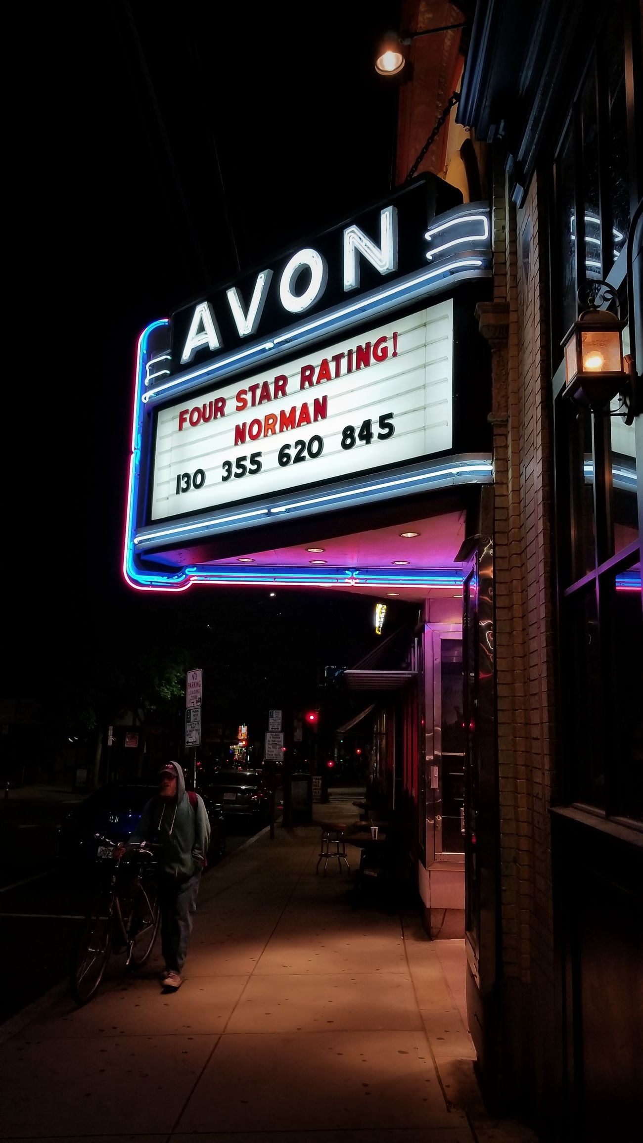 Text Neon Night Illuminated Communication Full Length Nightlife Outdoors Architecture City Building Exterior One Person Only Adult Passerby Theatre Marquee Sidewalk View The Street Photographer - 2017 EyeEm Awards Rhode Island Photography⚓