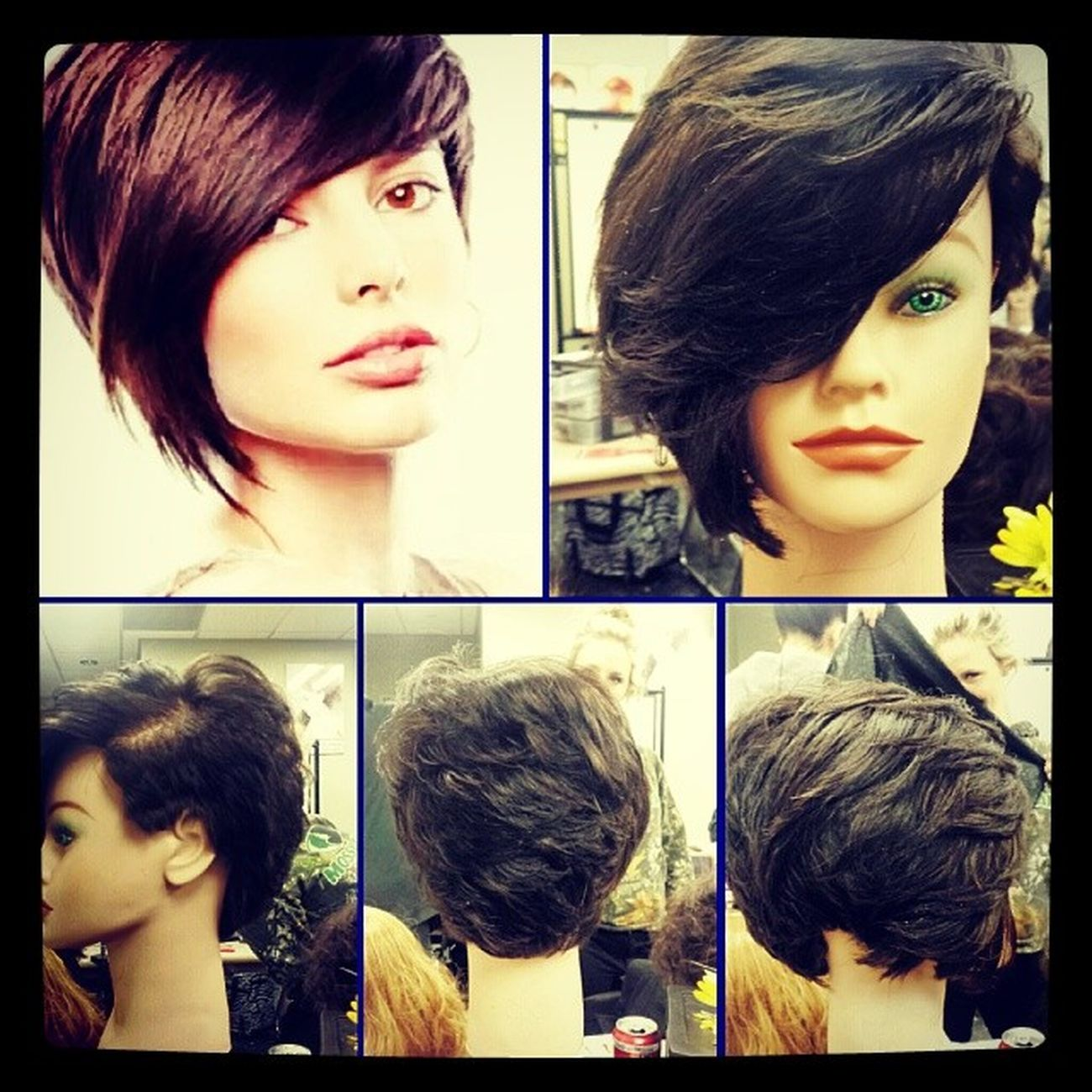 My spin on a haircut from google during tech class today. The goal was to create a tendy haircut. I think it turned out pretty good :) Capitoldoll Saphire Cosmetologist  Hairstylist