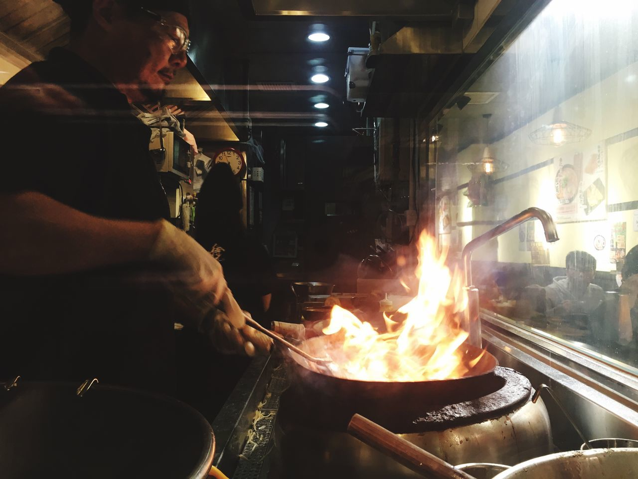 Preparation  Real People Indoors  Adults Only Heat - Temperature Working Expertise One Person Commercial Kitchen People Adult Only Women Day HongKong Fire Cooking
