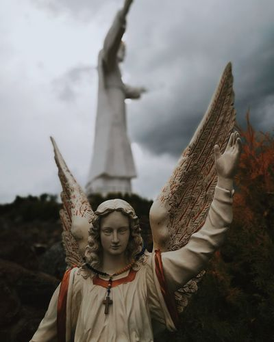 ascend Jesus Statue Outdoors No People Cloudy Angel Jesuschrist Symbol Symbolism Symbolic  Dystopian Dystopic Poland Bokeh EyeEmNewHere