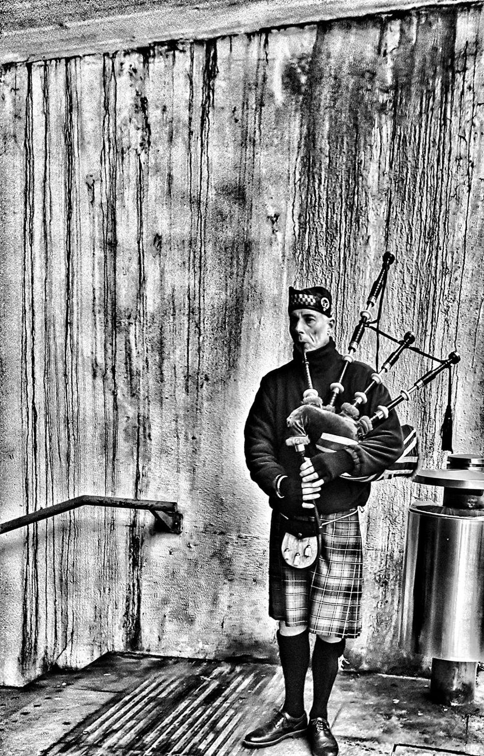 Pipes of peace. One Person Holding Real People Outdoors Standing One Man Only Musical Instrument Emotions Captured Underpass Veteran Bagpipes Bagpiper Music Black & White