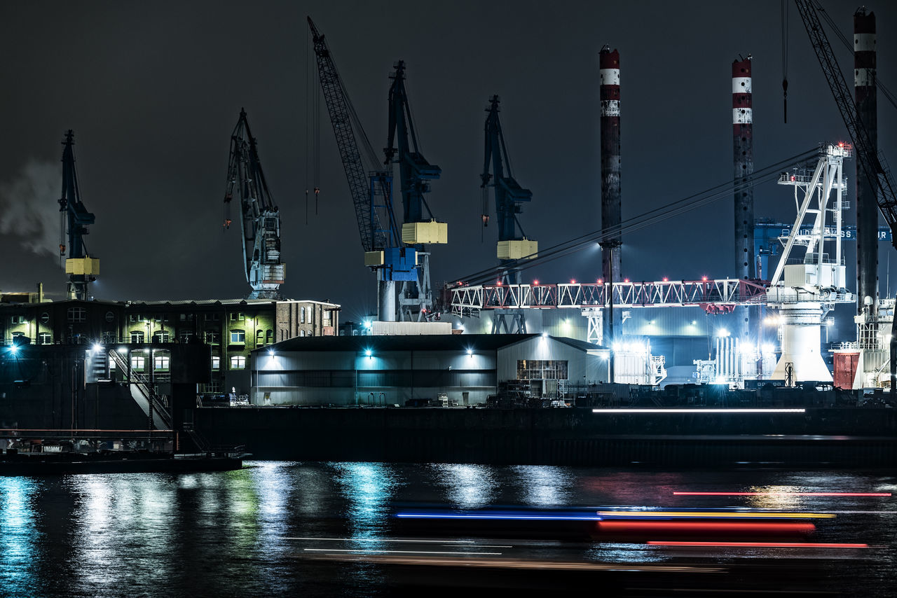 MPI Enterprise by night Blohm + Voss Blured Lights Business Finance And Industry City Cranes Dock 11 Elbe River Hamburg Harbour Illuminated Industry Light Traces Motion MPI Enterprise Night No People Outdoors Special Ship Tails Of Lightning Water