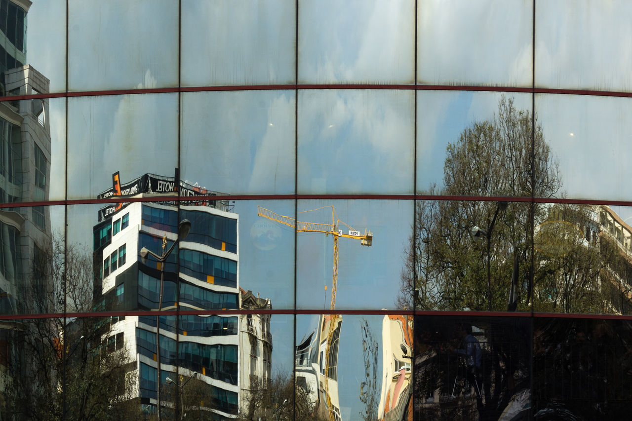 Building Construction Crane Lisbon No People Portugal Reflection Reflections Sky