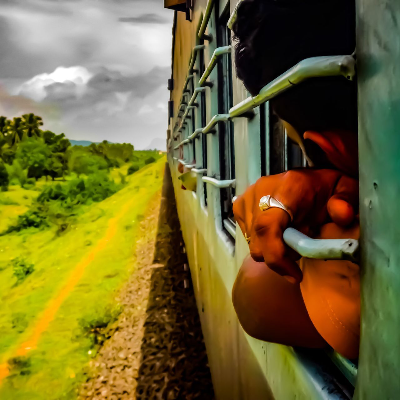 Every traveller is unknown of the outcome of his journey Indian Train India TravelRealIndia One Person Adult Male Travel Traveller Photography Beautiful Beauty In Nature Green Yellow Beautiful Weather Cloud - Sky Rural Scene Day Outdoors Sky Tree Close-up Nature
