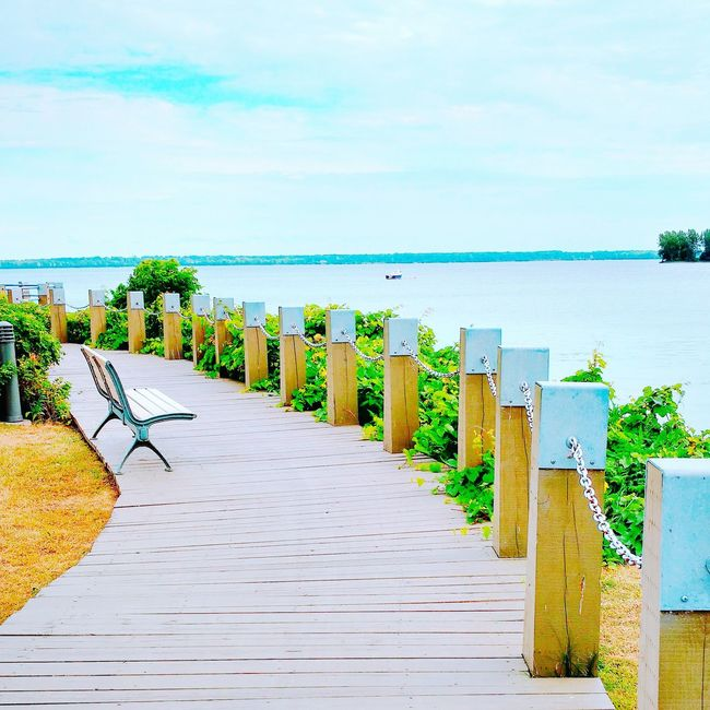 Relaxing Enjoying Life River View River Fleuve Saint-Laurent Blue Water Boardwalk Alone Time Alone Peaceful View Peace And Quiet Relaxing Moments Relaxing Time Lachine First Eyeem Photo Hidden Gems
