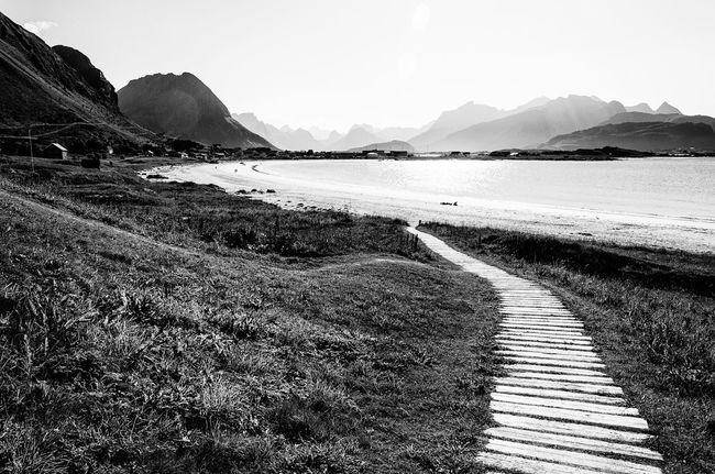 Skutvik Norway Norge Blackandwhite Traveling Ocean Coast Mountains