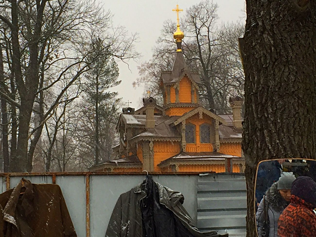Street Photography Wooden Church  Early Winter A Grey Day Travelling Photography Observingpeople Eye4photography  EyeEm Gallery Mirror Reflections Architecture_collection Orthodox Church
