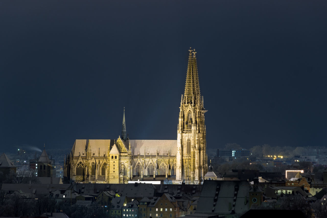 Regensburg @ night Architecture Building Exterior Built Structure Church City Cityscape Cityscape Clear Sky History Illuminated Night Night Lights Nightphotography No People Outdoors Place Of Worship Religion Show Sky Spirituality The Architect - 2017 EyeEm Awards Travel Destination Travel Destinations Travel Photography Winter