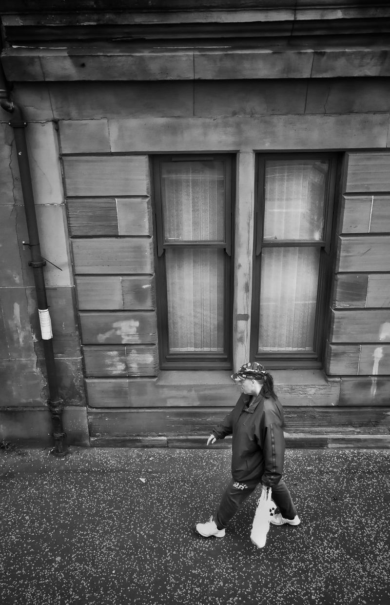 Door One Person Full Length Day Real People Outdoors Built Structure Building Exterior One Man Only Lifestyles People Architecture Adult Only Men Adults Only Black And White Light And Shadow View From The Window... P10 Plus Photography Streets Of Glasgow