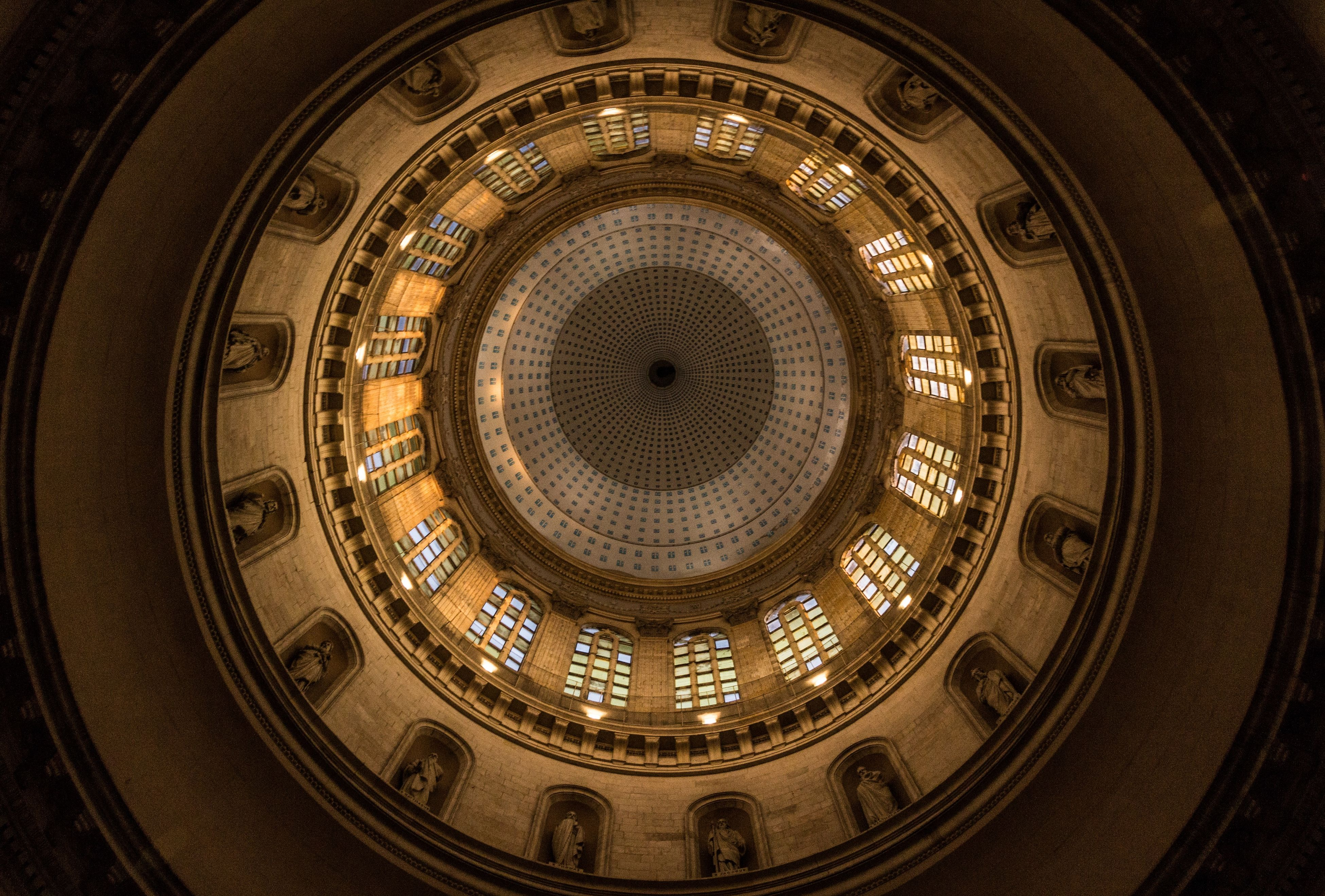 indoors, circle, architecture, directly below, built structure, pattern, design, time, low angle view, geometric shape, famous place, clock, architectural feature, history, ceiling, no people, ornate, travel, spiral staircase, spiral