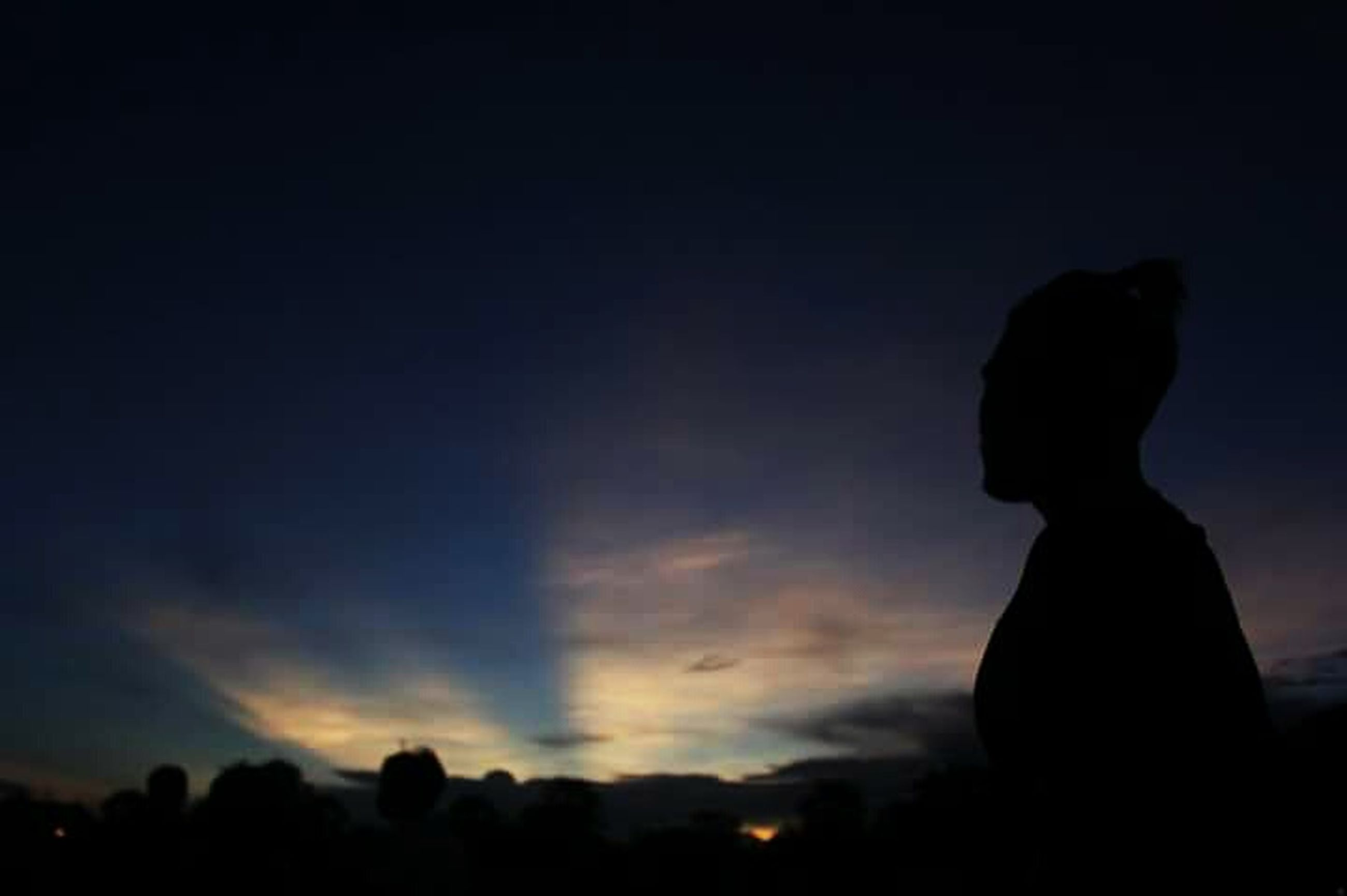 silhouette, sky, sunset, outline, low angle view, dusk, copy space, beauty in nature, nature, dark, cloud - sky, tranquility, standing, scenics, one person, outdoors, tranquil scene, cloud, side view, idyllic