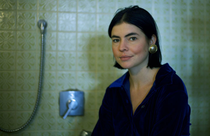 Bathroom Color Green Green Color Indoors  Looking At Camera One Woman Only Patttern Portrait Portrait Of A Woman Smile Tiling The Portraitist - 2017 EyeEm Awards