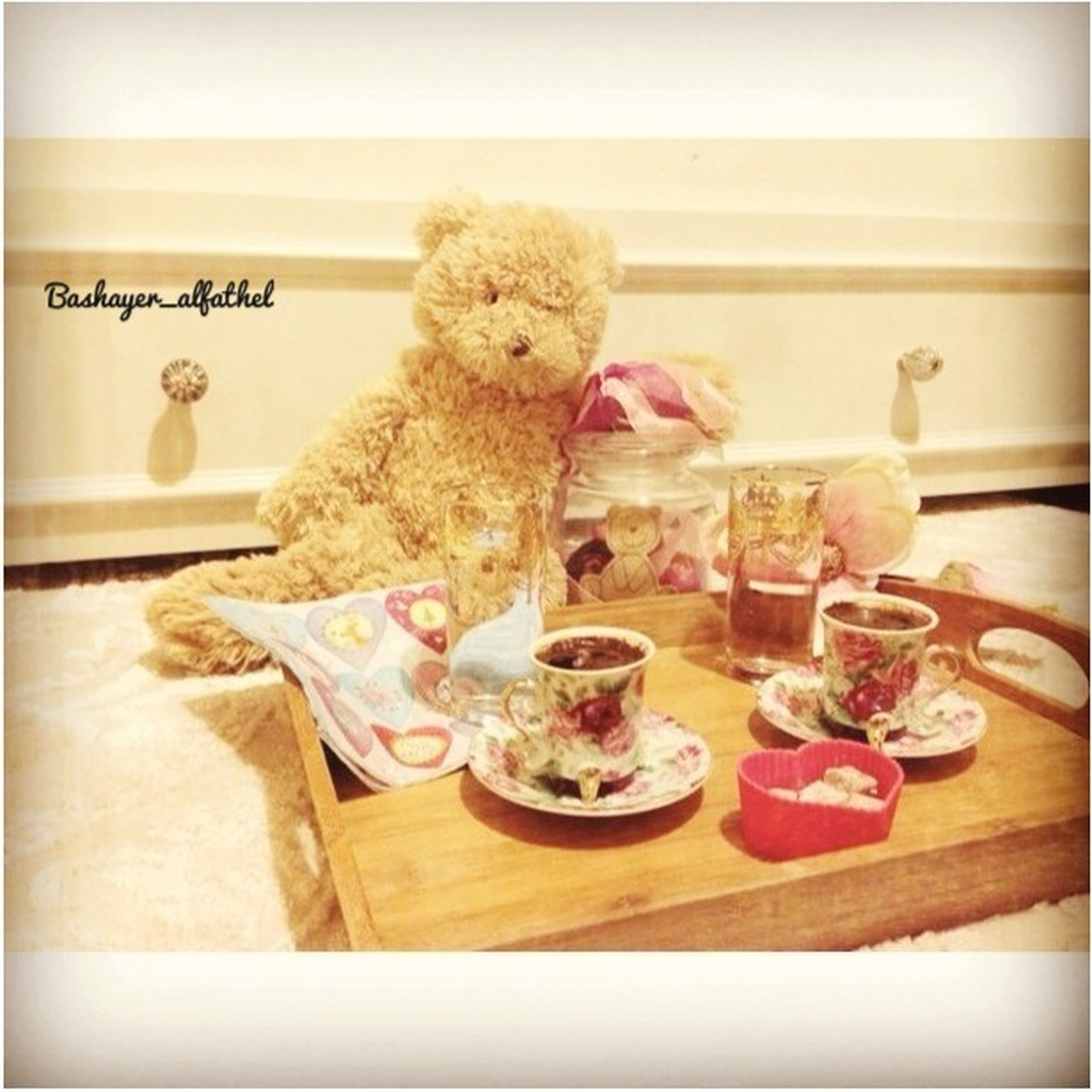 indoors, table, still life, food, food and drink, home interior, auto post production filter, transfer print, stuffed toy, animal representation, toy, plate, freshness, ready-to-eat, no people, teddy bear, home, close-up, variation, sweet food