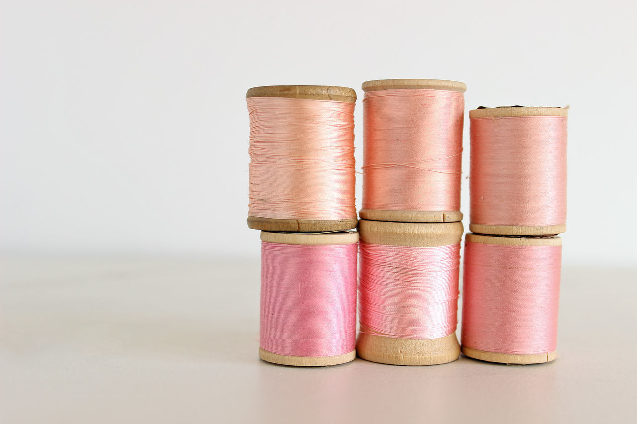 Pinks Background Beautiful Blush Pink Bridemaids Colort Colors Copy Space Cotton Fashion Ombre Pastel Pink Pinks  Sewing Spools Of Thread Spring Colors Studio Sot Supplies Tailor Thread Wedding